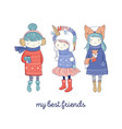 hand drawn beautiful cute little winter girls vector image vector image