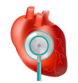 healthy heart with stethoscope use for heart vector image vector image