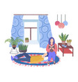 house plants in living room and couple man resting vector image vector image
