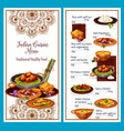indian cuisine menu with traditional healthy food vector image