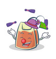 juggling tea bag character cartoon art vector image vector image