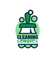 linear style logo for cleaning service with brush vector image vector image