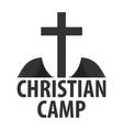 logo christian summer camp evening camping cross vector image vector image