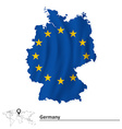 Map of Germany with European Union flag vector image vector image