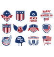 memorial day set emblems with american flag vector image