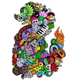 Monster and music cartoon vector image vector image