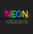 neon modern font alphabet letters and numbers vector image vector image
