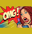 omg woman screams in phone vector image