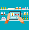 online pharmacy concept background flat style vector image