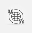 outsourcing line icon made with earth and vector image vector image