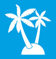 palm trees icon white vector image