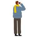 photographer man in autumn taking pictures vector image vector image