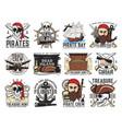 pirates island filibuster treasure hunt emblems vector image