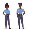 police officers couple in uniform standing vector image