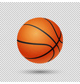 realistic flying basketball closeup vector image