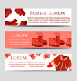 red winter clothes and accessorises banners vector image vector image