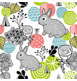 seamless pattern with spring time rabbits vector image vector image