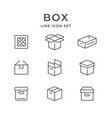 set line icons of box vector image vector image