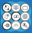 set of 9 business management icons includes open vector image vector image