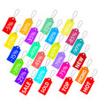 set of multicolor sale tags on white stock vector image vector image