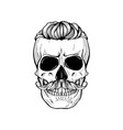 skull with hairstyle vector image