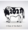 symbol year white bull with black spots vector image
