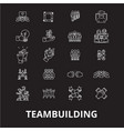 teambuilding editable line icons set on vector image vector image