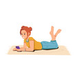 teenager girl with smartphone on carpet isolated vector image