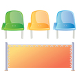 Three colored stadium seats and bord vector image vector image