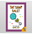 Toy shop sale flyer design with blue dotted rattle vector image