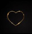 valentine heart sparkle golden frame isolated vector image