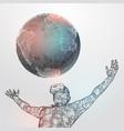 vr polygonal man wearing virtual reality glasses vector image vector image