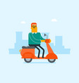 young caucasian white man riding a scooter vector image vector image