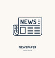 newspaper flat line icon news article sign thin vector image