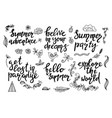 set of hand drawn summer themed phrases vector image