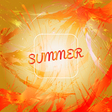 abstract summer card design with white frame over vector image