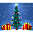 christmas background with decorated tree and gift vector image