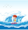 a boy surfing big wave vector image