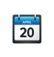 April 20 Calendar icon flat vector image vector image