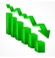 Arrow green chart down sign on white vector image vector image