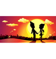 banner winter in love on SUNSET vector image vector image