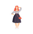 beautiful red haired curvy overweigh girl in vector image vector image