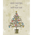 beige background with christmas tree vector image