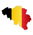 belgium silhouette map and flag vector image vector image