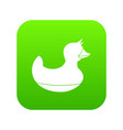 black duck toy icon digital green vector image