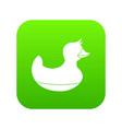 black duck toy icon digital green vector image