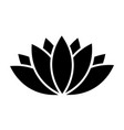 black lotus icon on white background vector image vector image
