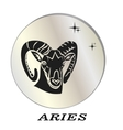 black silhouette of aries are on pearl background vector image vector image