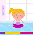 blond child in swimming pool vector image vector image