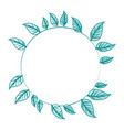 blue silhouette image decorative crown of leaves vector image vector image
